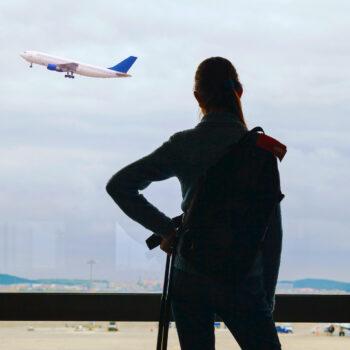 Teen girl air passenger waiting for the flight